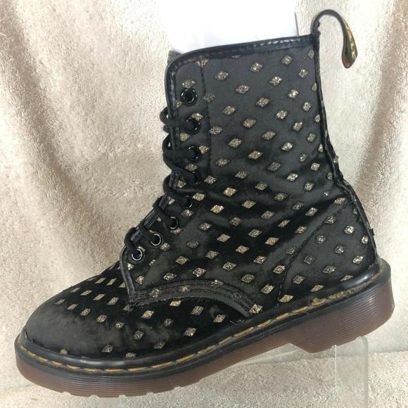 a18bef28f521 Dr. Martens Shoes | Dr Martens Diamond Glitter Velvet Combat Boots ...